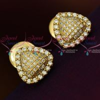 AD White Triangle Shape Small Size Ear Studs Sparkling Stone Collections Online