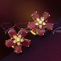 AD Jewellery Ruby Oval 5 Stone Design Ear Studs Traditional Design Collections Shop Online