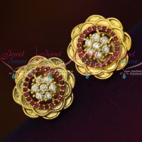 AD Ruby White Floral Design Ear Studs Light Weight Earrings Shop Online