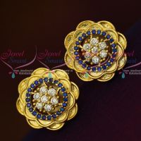 AD Dark Blue White Floral Design Ear Studs Light Weight Earrings Shop Online