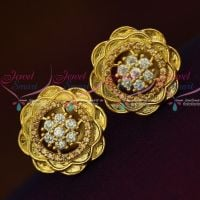 AD Topaz Yellow White Floral Design Ear Studs Light Weight Earrings Shop Online