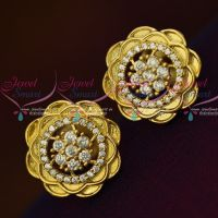 AD Full White Stones Floral Design Ear Studs Light Weight Earrings Shop Online