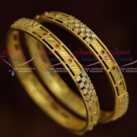 Ruby White AD Stones Flat Design Trendy Imitation Bangles Collections Shop Online