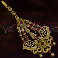 AD Stylish Side Passa Maang Tikka Latest Trendy Fashion Jewellery Ruby Emerald Stones
