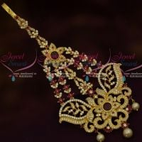 AD Stylish Side Passa Maang Tikka Latest Trendy Fashion Jewellery Ruby White Stones
