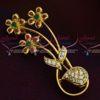 Flower Bunch Design Ruby Emerald Fashion Jewellery Saree Pin Collections Shop Online