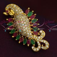 Peacock Design Marquise AD Stones Fashion Jewellery Saree Pin Collections Shop Online