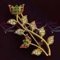 Lotus Design AD Stones Fashion Jewellery Saree Pin Collections Shop Online