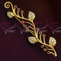 Leaf Design AD Ruby White Fashion Jewellery Saree Pin Collections Shop Online