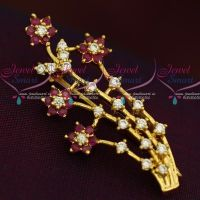 Floral Design AD Ruby Red Stones Fashion Jewellery Saree Pin Collections Shop Online