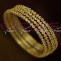American Diamond White Stone Bangles 4 Pcs Set Low Price Fashion Jewellery Shop Online