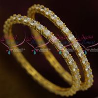 Oval Shape AD Stone Sparkling Diamond Finish Bangles 2 Pcs Set Low Price Imitation Collections Online