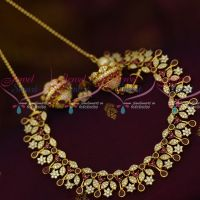 Ruby White Linked Short Necklace Jhumka AD Imitation Jewellery Designs Shop Online