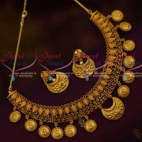 Temple Jewellery Necklace Antique Reddish Matte Gold Latest Imitation Necklace