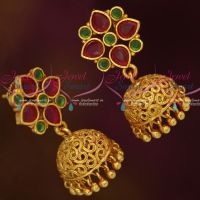 Ruby Emerald Round Tops Jhumka Small Size Earrings Fashion Jewellery Designs Online