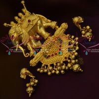 Bahubali Movie Style Jewellery Elephant Design Pendant Screwback Earrings Collections Online