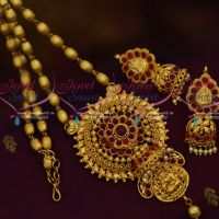 Oval Ball Chain Temple Pendant Double Pearl Drops Gold Finish Ethnic Jewellery Collections Online