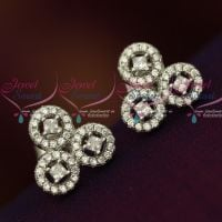 Silver 92.5 Jewellery CZ High Quality Spakling Triple Round Design Ear Studs Shop Online