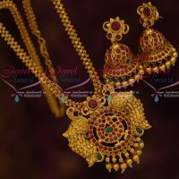 Latest Peacock Design Pendant Ghajiri Short Chain Jhumka Earrings Matte Gold Imitation Jewellery Online