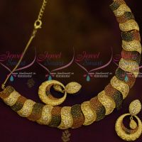Matte Gold Double Colour Enamel AD Stones Fusion Jewellery Imitation Designs Shop Online