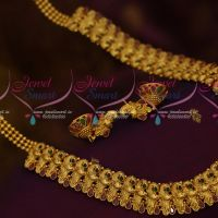 Broad Peacock Design Antique Jewellery Haram Antique Dull Gold Traditional Design Collections Online