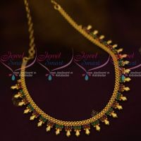 Kerala Style Design South Indian Jewellery Short Necklace Ruby Emerald Stones Collections