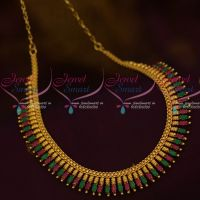Ruby Emerald Marquise AD Stones South Indian Kerala Design Fashion Jewellery Online