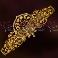 Antique Matte Gold Plated Peacock AD Hair Clip Imitation Accessory Jewellery Designs Online