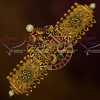 Antique Matte Gold Plated Temple AD Hair Clip Imitation Accessory Jewellery Designs Online