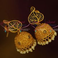 Black Enamel Finish Matte Copper Tone Gold Jhumki Pearl Drops Shop Online