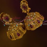 Floral Design Reddish Matte Gold Kemp Designer Jewellery Latest Jhumka Earrings Shop Online