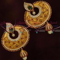 Antique Matte Gold Big Size Earrings Jhumka Drops AD Multi Colour Stones Jewellery Online