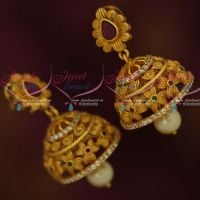 Floral Design Matte Gold AD Designer Jewellery Latest Jhumka Earrings Shop Online
