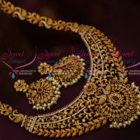 Broad Pendant Antique Matte Gold Medium Size Haram Latest Fashion Jewellery Designs Online