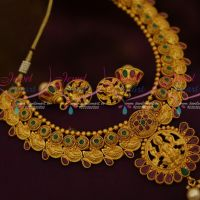 Mango Design Necklace Temple Pendant Bright Matte Gold Latest Imitation Necklace
