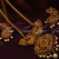 Matte Gold Plated Imitation Jewellery Peacock Pendant Chain Latest Antique Jewellery Designs Online