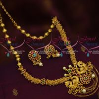 One Gram Gold Double Design Beads Peacock Pendant Chain Danglers Latest Jewellery Collections
