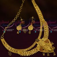 Double Layer One Gram Gold Jewellery  Short Necklace 100 MG Forming Meenakari Imitation Casting Design Online