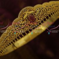 One Gram Gold Light Weight Premium AD Ruby Colour Oddiyanam Latest Fashion Bridal Jewellery Online