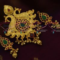 Double Side Peacock One Gram Gold Plated Pendant Earrings Latest Premium Imitation Jewellery Designs Online