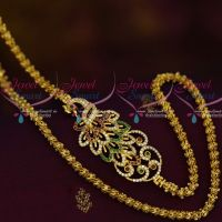 24 Inches Flexible Peacock Mugappu Chain Party Wear Imitation AD Jewellery Designs Online