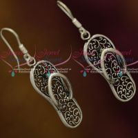 92.5 Silver Oxidised Jewellery Footwear Chappal Design Hook Hanging Earrings Shop Online Fancy