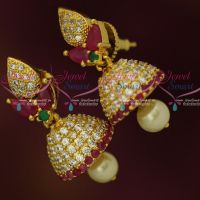 Small Size AD Jhumka Ruby Green White Stones Fashion Jewellery Shop Online