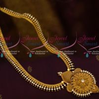 Beads Design AD White Stones Gold Covering South Indian Jewellery Haram Collections Shop Online