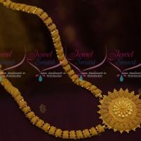 Emboss Woven Beads Design Gold Plated Haram Floral Pendant Imitation South Indian Collections Online