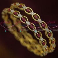 AD Ruby White Oval Design Two Tone Plated Bangles Imitation Jewellery Shop Online
