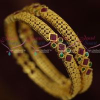Ruby Green Latest Gold Design Bangles AD Stones Jewellery Shop Online