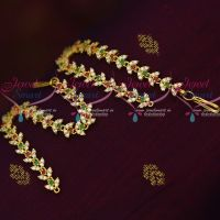 AD Red Green White Stones Thin Flexible Ear Mattal Latest Imitation Jewellery Designs Online