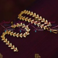 AD Red White Stones Thin Flexible Ear Mattal Latest Imitation Jewellery Designs Online