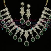 Exclusive Diamond Finish Jewellery Rhodium Emerald AD High Quality Imitation Collections Online